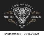 motorcycle engine in vintage... | Shutterstock .eps vector #394699825