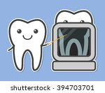 two teeth demonstrated x ray.... | Shutterstock .eps vector #394703701