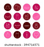 collection of lady shopping... | Shutterstock .eps vector #394716571