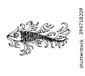 hand drawn fish with decorative ... | Shutterstock .eps vector #394718209
