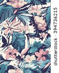 tropical seamless pattern with... | Shutterstock .eps vector #394736215