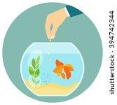 Goldfish In Aquarium Isolated....