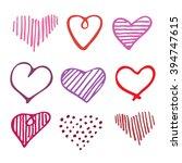 love set unique hand drawn... | Shutterstock . vector #394747615