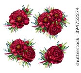 Stock photo set of watercolor red peonies bouquets watercolour flower peony isolated on white background 394752274