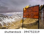 Small photo of INDIA, LADAKH, 2006-02-29: Notice sign with admonition to avoid litter on Khardung La Pass on the highest motor able mountain road of the world between Leh and Nubra Valley.