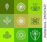 floral icons set. design... | Shutterstock .eps vector #394767637