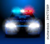 police car in night with lights ... | Shutterstock . vector #394773589