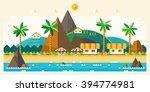 beach summer landscape. tourist ... | Shutterstock .eps vector #394774981