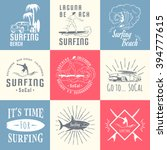 set of vintage surfing graphics ... | Shutterstock .eps vector #394777615