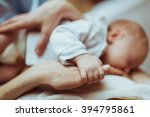 mother breastfeeds her infant   ... | Shutterstock . vector #394795861