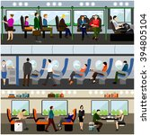 passengers in public transport... | Shutterstock .eps vector #394805104