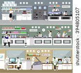 scientist working in laboratory ... | Shutterstock .eps vector #394805107