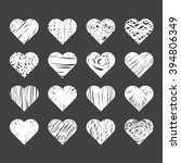 set of hand drawn hearts on... | Shutterstock .eps vector #394806349