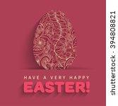 easter eggs flat thin line hand ... | Shutterstock .eps vector #394808821