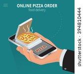 ecommerce concept  order food... | Shutterstock .eps vector #394810444