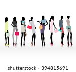 group of female models dresses... | Shutterstock .eps vector #394815691