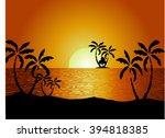 sunset in huge mountains near... | Shutterstock .eps vector #394818385