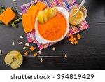 a light breakfast of pumpkin... | Shutterstock . vector #394819429