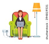 woman sitting home in... | Shutterstock .eps vector #394819531