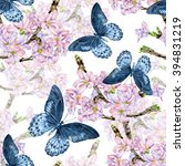 sakura flowers and blue... | Shutterstock . vector #394831219