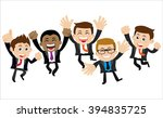 happy businesspeople jumping...