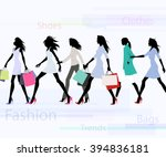 group of female models dresses... | Shutterstock .eps vector #394836181