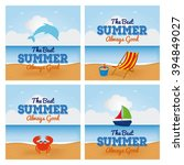 set of beach landscapes with... | Shutterstock .eps vector #394849027