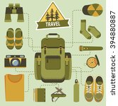 backpack and hiking equipment.... | Shutterstock .eps vector #394880887