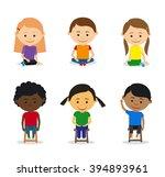 little kids sitting | Shutterstock . vector #394893961