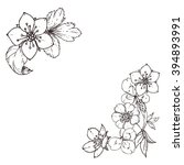 hand drawn ink floral ornament... | Shutterstock .eps vector #394893991