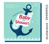 nautical baby shower card...   Shutterstock .eps vector #394909921