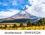active popocatepetl volcano in... | Shutterstock . vector #394919224