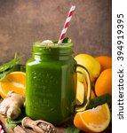healthy green smoothie  in... | Shutterstock . vector #394919395