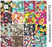 set 12 retro seamless  pattern... | Shutterstock .eps vector #394919755