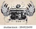winged boombox graffiti | Shutterstock .eps vector #394923499