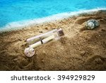 Small photo of Message in a Bottle on the san, bottle with a message, message in bottle on a beach