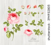 vintage flowers set over wooden ... | Shutterstock .eps vector #394932805