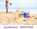 kids toys and little girl... | Shutterstock . vector #394937965