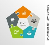 five piece flat puzzle round... | Shutterstock .eps vector #394939591