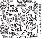 heart organ cute tattoo rock n  ... | Shutterstock .eps vector #394940404
