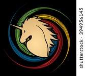unicorn head designed on grunge ...   Shutterstock .eps vector #394956145