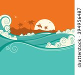 seaside background with blue...   Shutterstock . vector #394956487