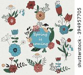 vector set of spring bouquets | Shutterstock .eps vector #394957705