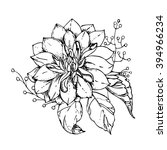 hand drawn ink floral ornament... | Shutterstock .eps vector #394966234