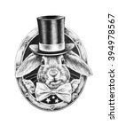 Stock photo white rabbit in a black hat and a bow tie t shirts design pencil illustration 394978567