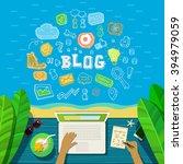 blogging concept. man working...   Shutterstock .eps vector #394979059