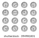 collage of round wall clocks ... | Shutterstock . vector #394981831
