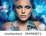 studio nude girl bw | Shutterstock . vector #394983871