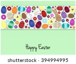 happy easter greeting card or... | Shutterstock .eps vector #394994995