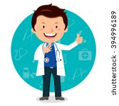 Cheerful Male Doctor. Vector...